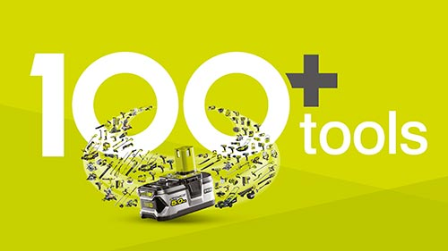 Med Ryobis ONE+ serie kan du bruge det samme batteri til mere end 100 forskellige have- og elværktøjer
